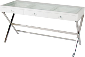 Glamster Vanity Makeup Table - White - Glamour Makeup Mirrors