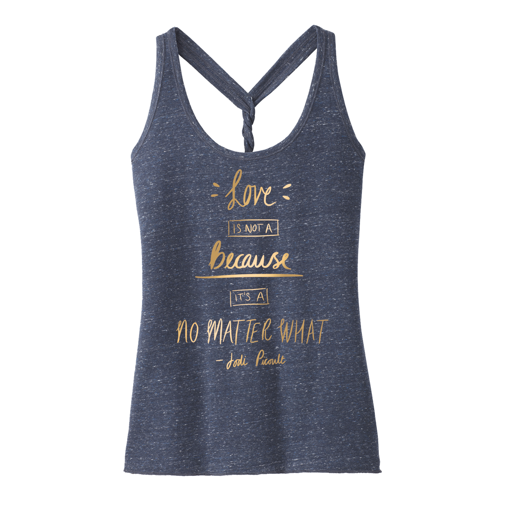 No Matter What Quote Gold Navy Tank