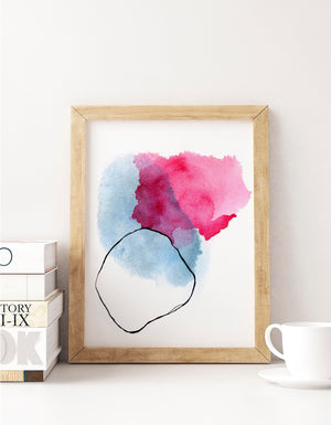 Watercolor Abstract Art Print in Pink and Blue. Colorful Wall Art Home Decor.