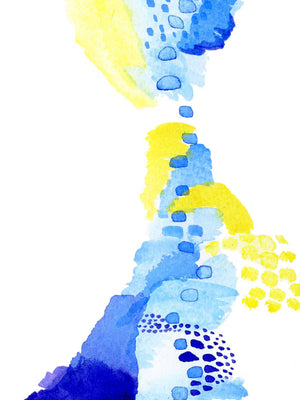 Colorful Blue, Yellow, and Purple Watercolor Art
