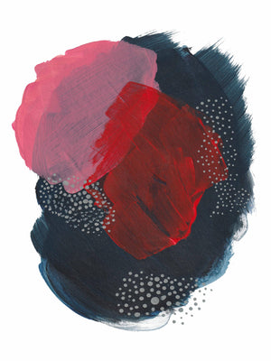 Vibrant Pink and Red Abstract Art Print