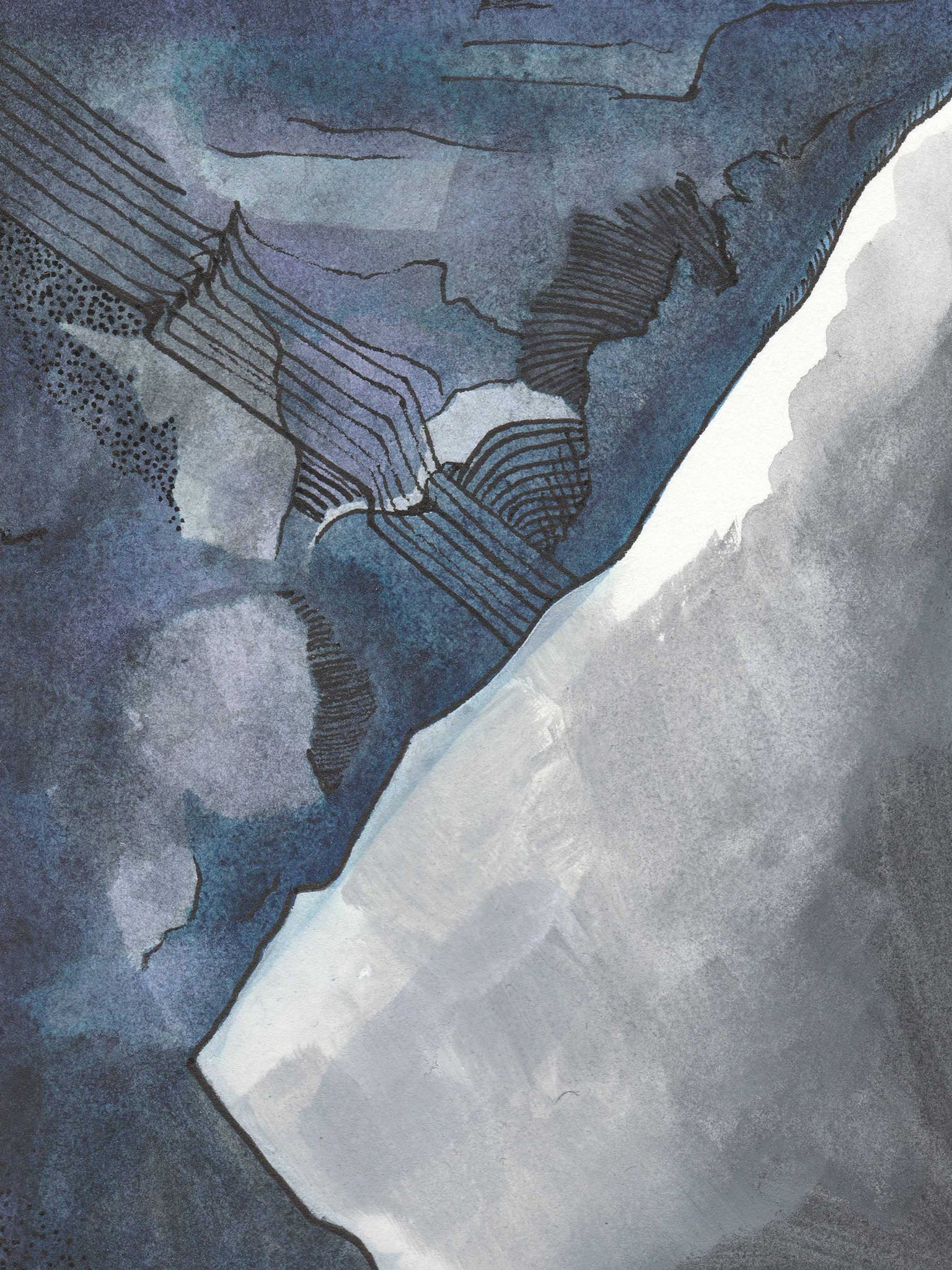 Abstract Blue and Gray Watercolor