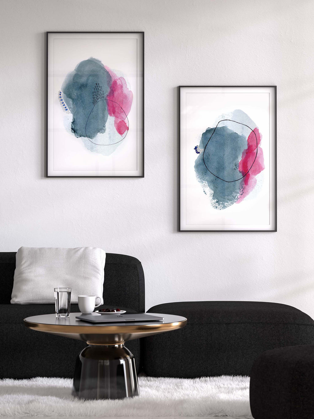 Large Abstract Art Print Set, Pink and Blue Art