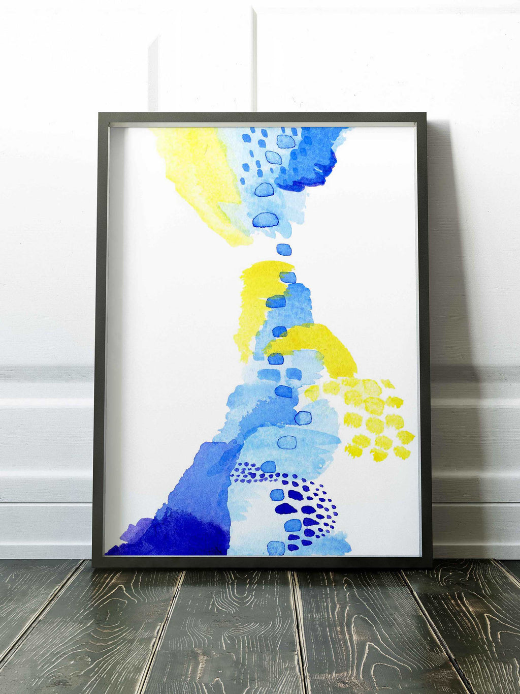 Colorful Blue, Yellow, and Purple Watercolor Art - AdriLunaStudio