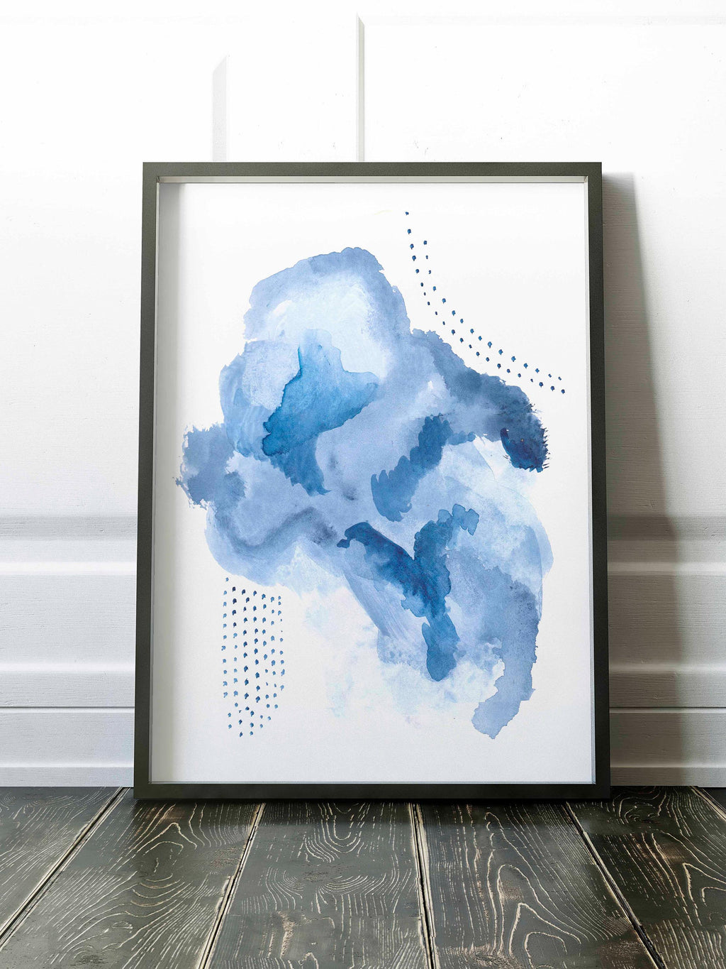 Cloud Inspired Abstract Watercolor Painting in Blue