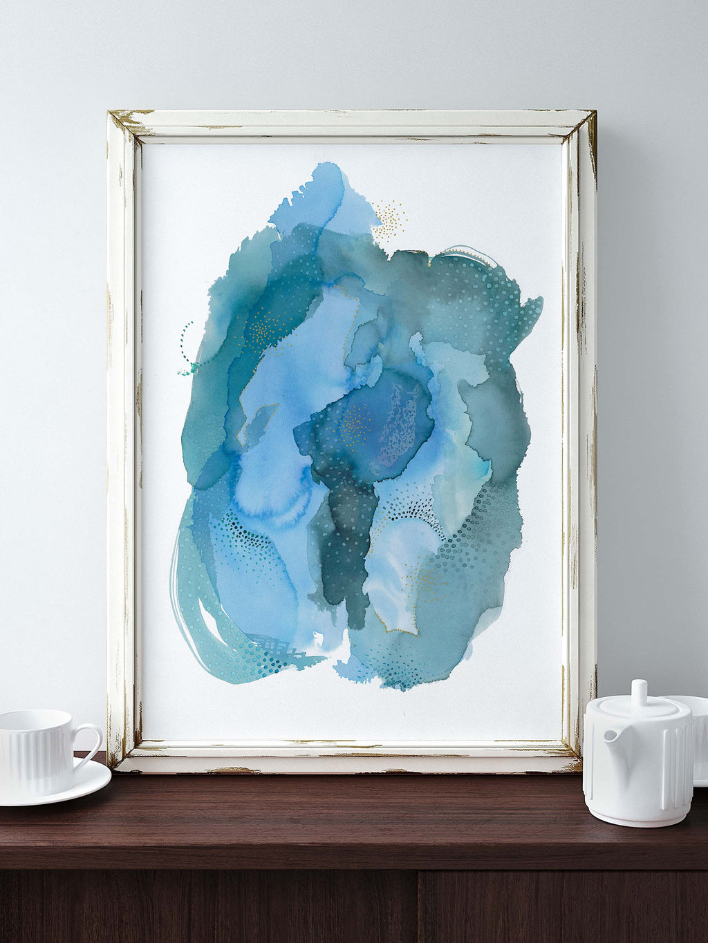 Large Blue Abstract Art Print