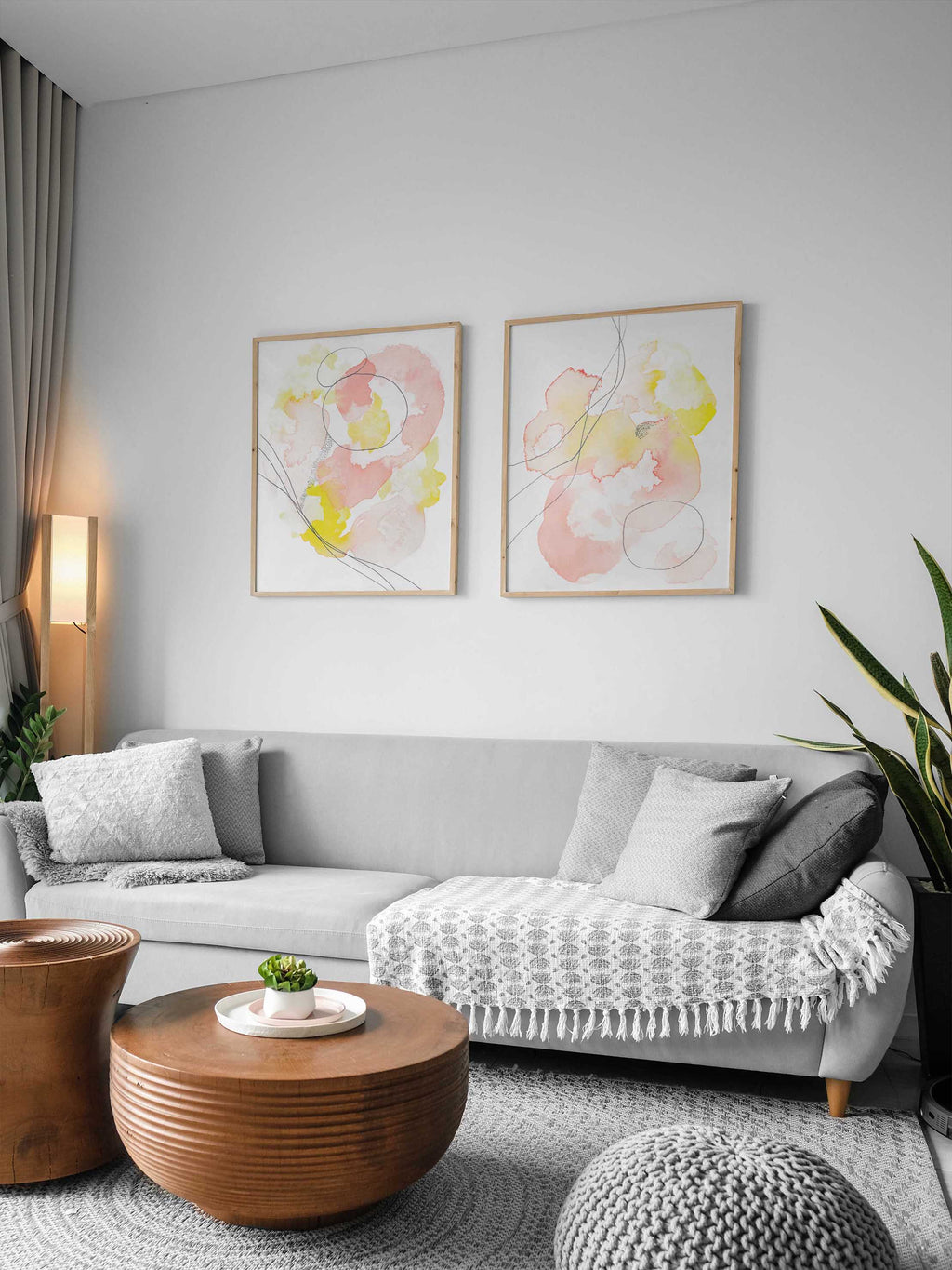 Abstract Set of Pink and Yellow Wall Art