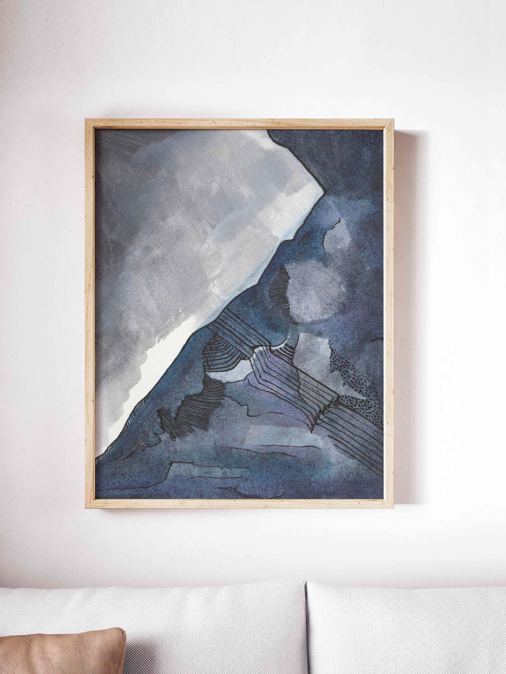 Abstract Blue and Gray Watercolor - AdriLunaStudio