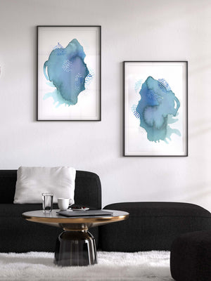 Colorful Blue and Purple Art Prints