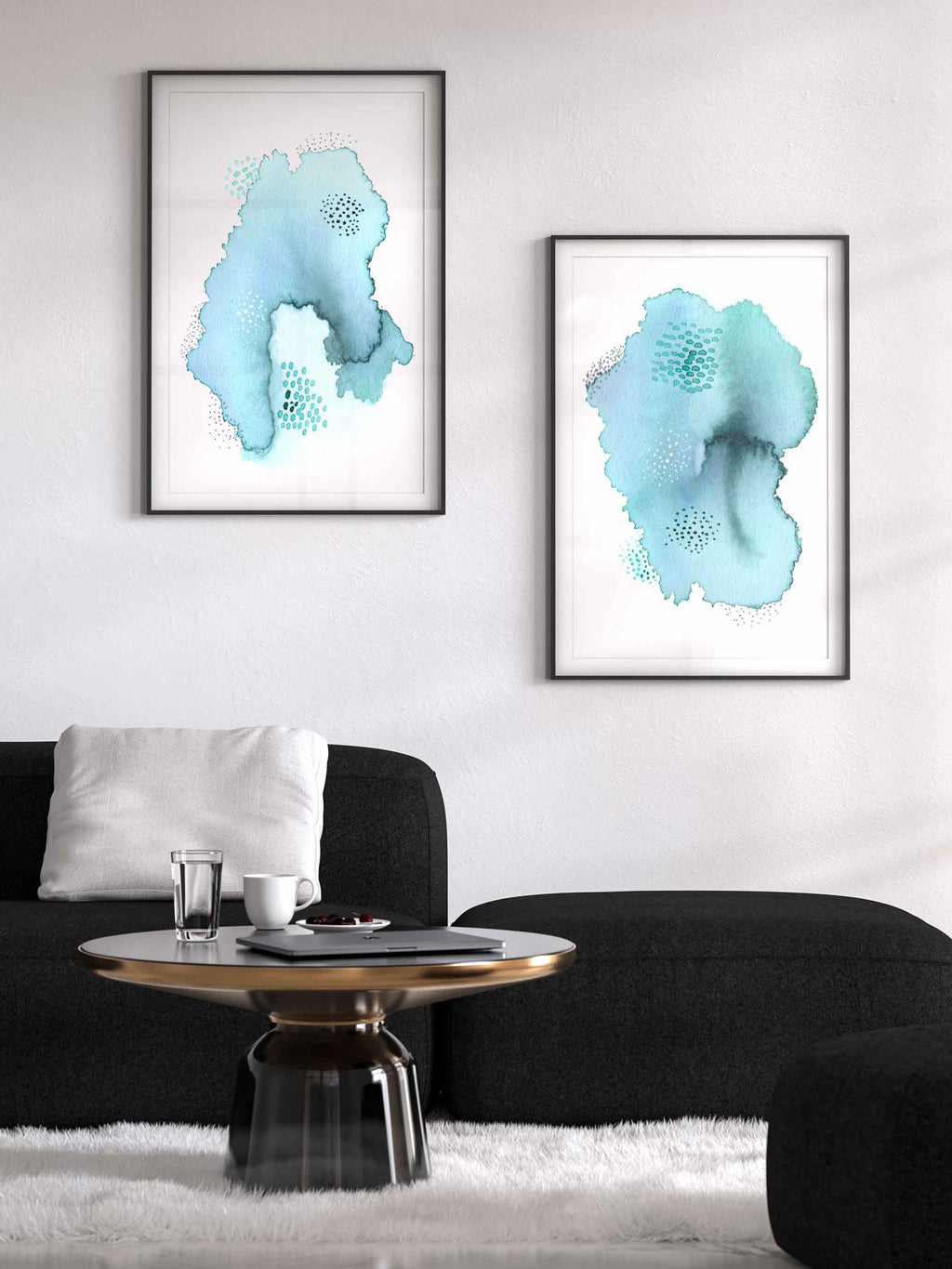 Large Abstract Mint Green Art Print Set