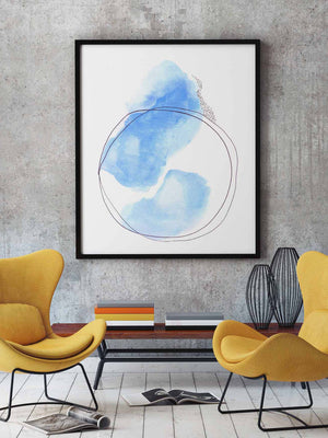 Colorful Delicate Modern Blue Art Print