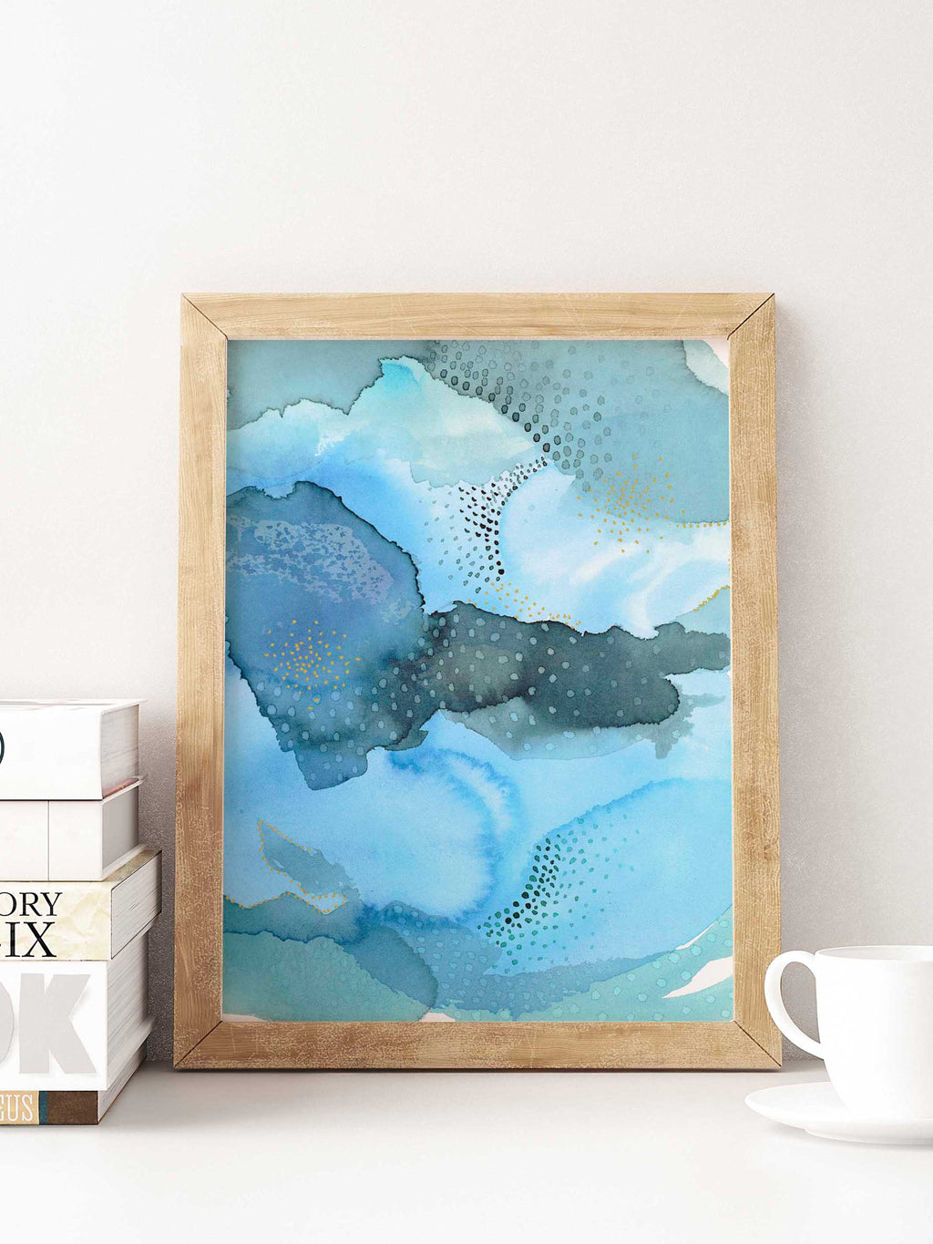 Blue Abstract Watercolor Art. Abstract Colorful Bedroom Wall Art - AdriLunaStudio