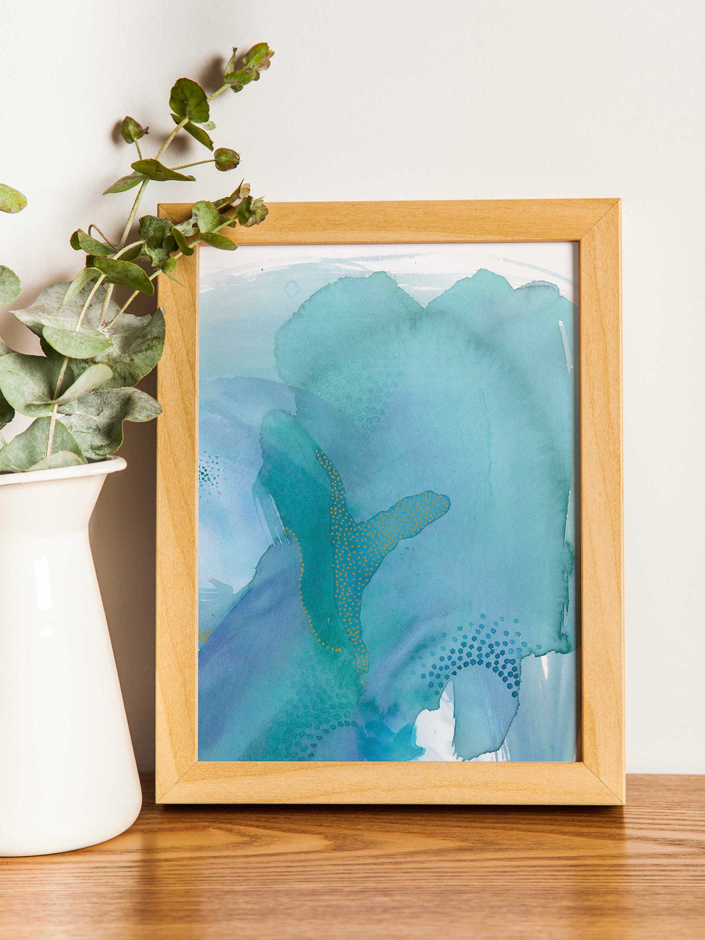 Blue and Green Abstract Home Decor.  Colorful Watercolor Art Print.