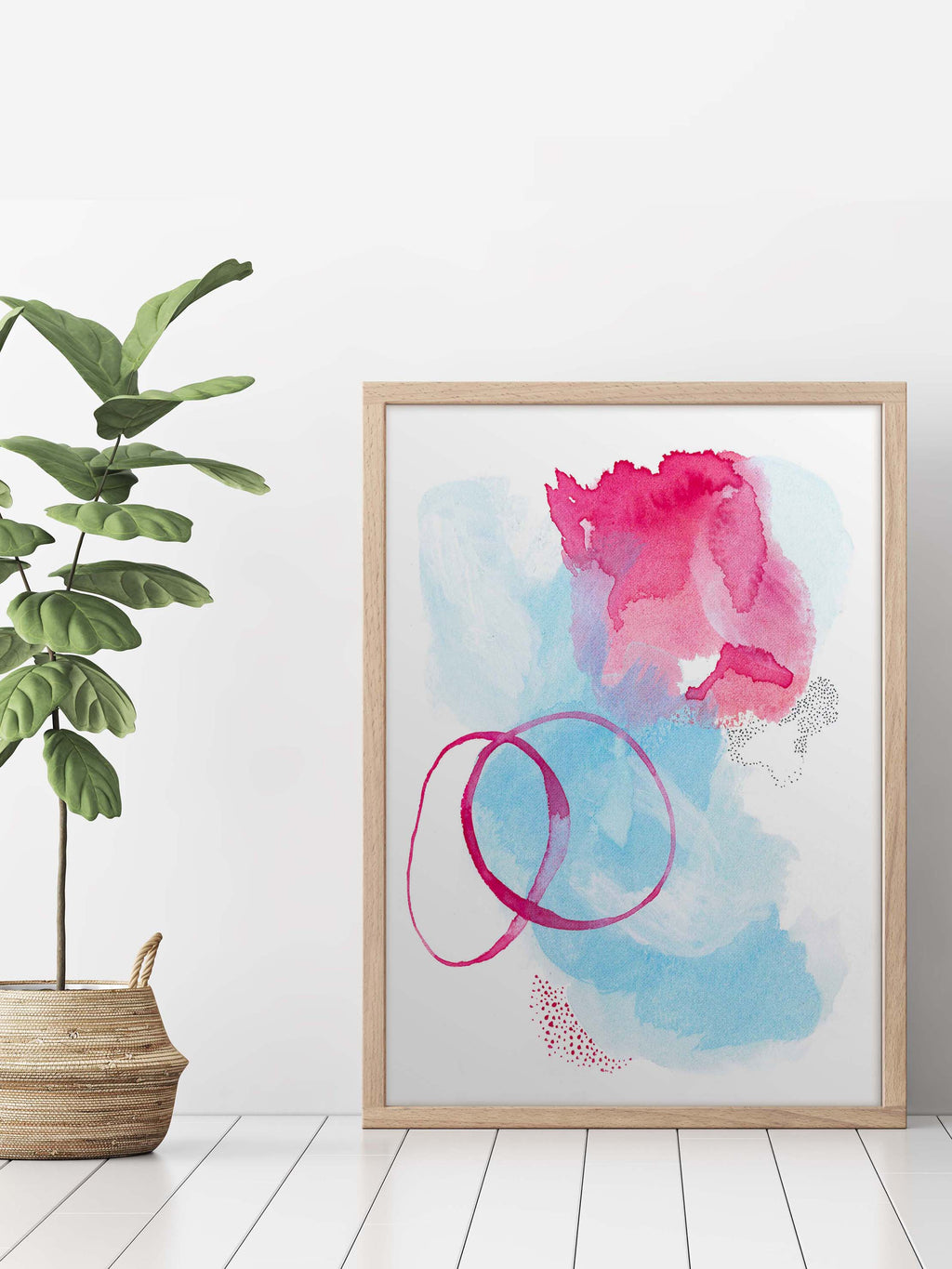 Blue and Pink Trendy Wall Art Watercolor - AdriLunaStudio