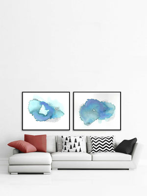 Set of 2 Prints. Large Blue Abstract Wall Art.