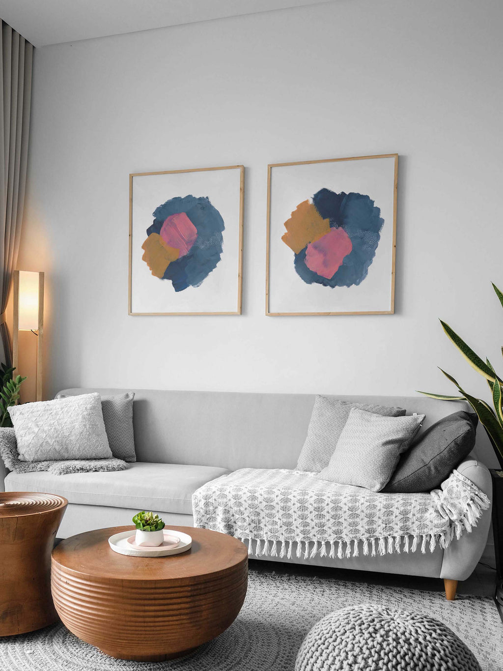 Colorful Pink, Blue, and Mustard Yellow Wall Art Print Set