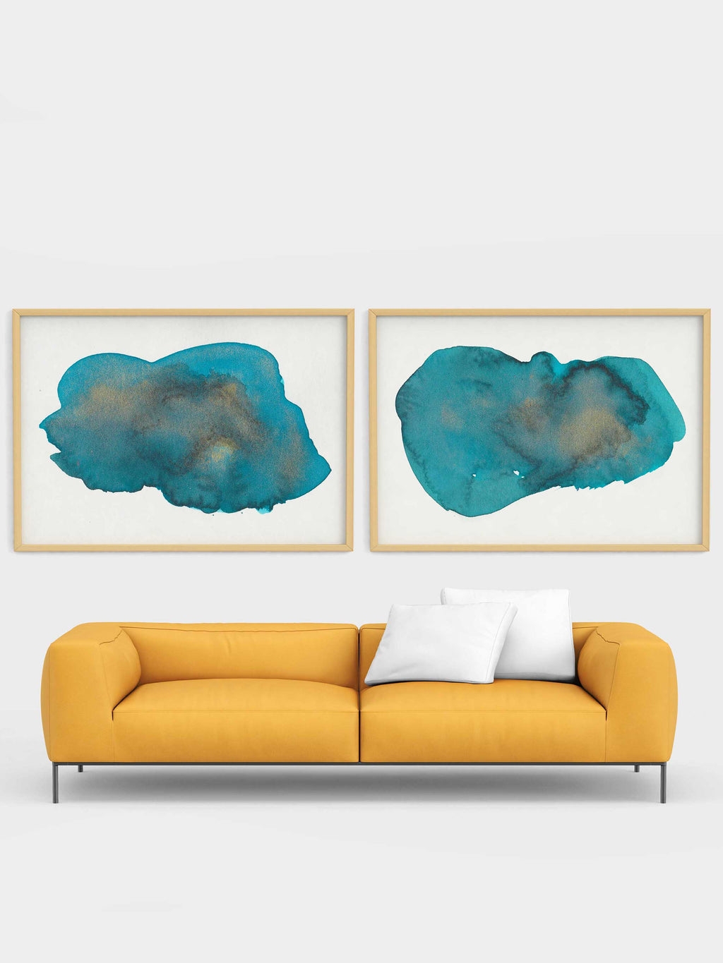 Teal and Gold Art Print Set