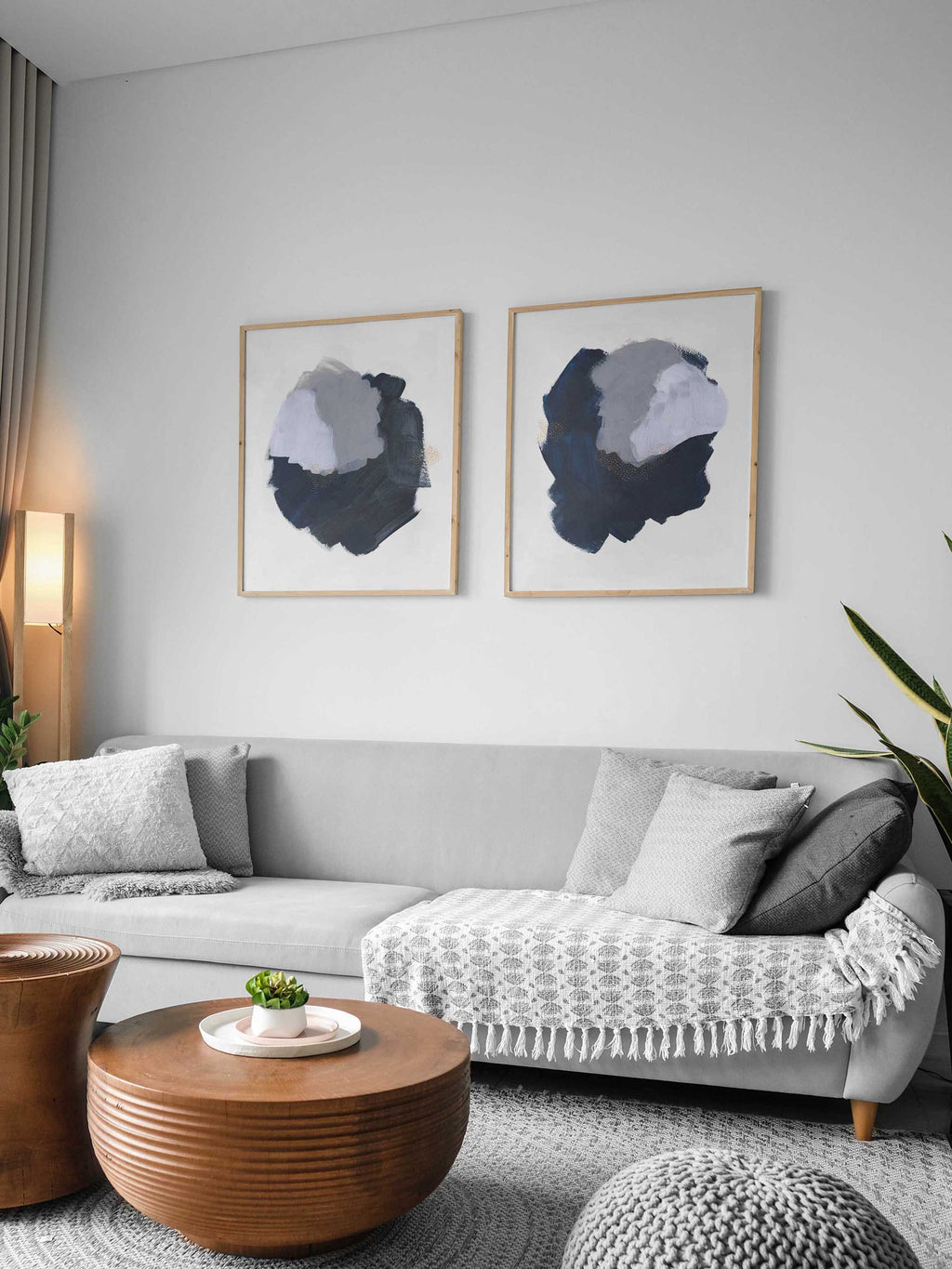 Navy Blue, Gray and White Large Abstract Art Print Set