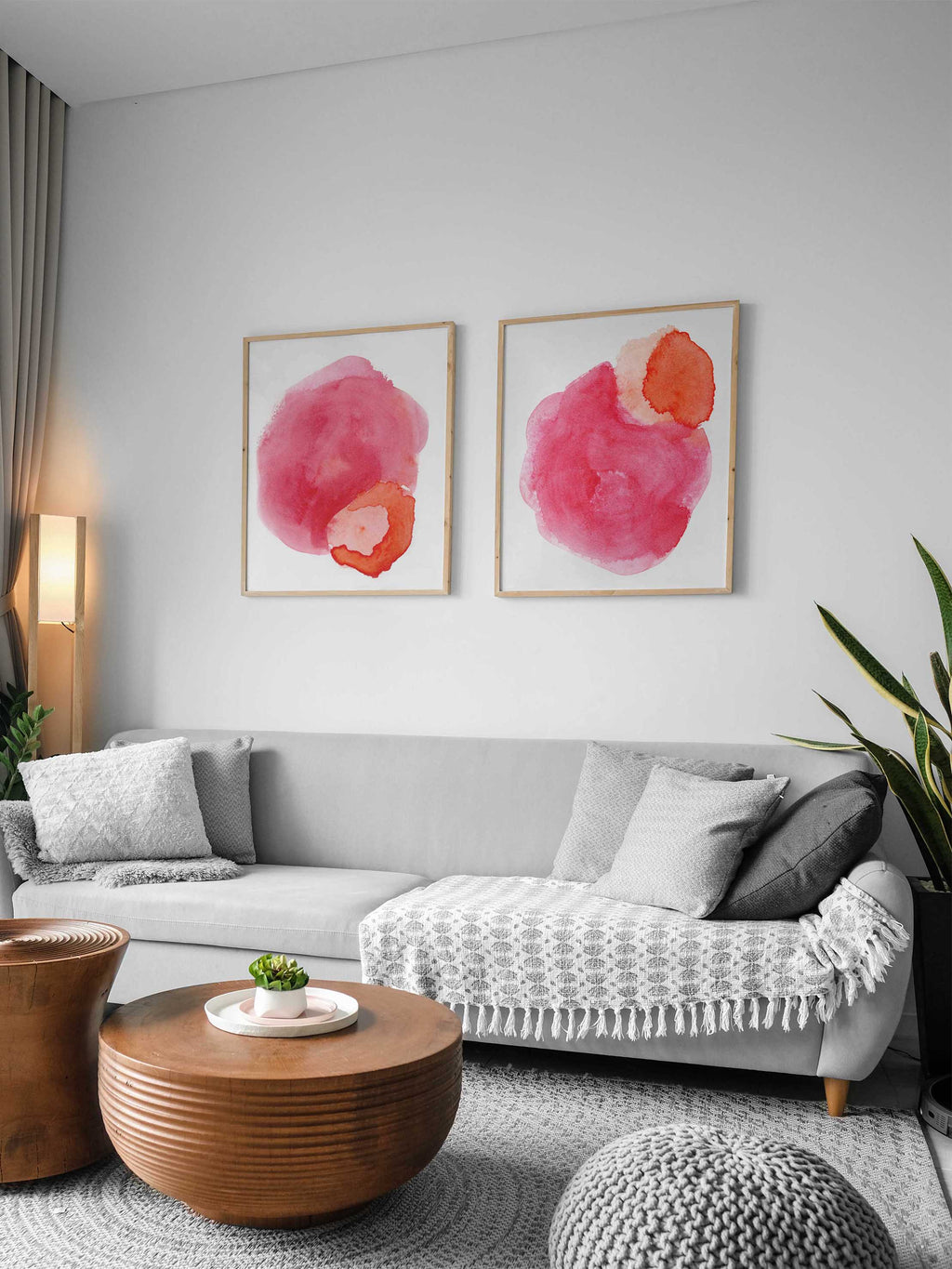Vibrant Pink Watercolor Print Set