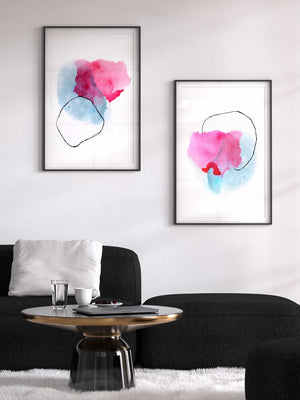 Pink and Blue Set of 2 Abstract Prints