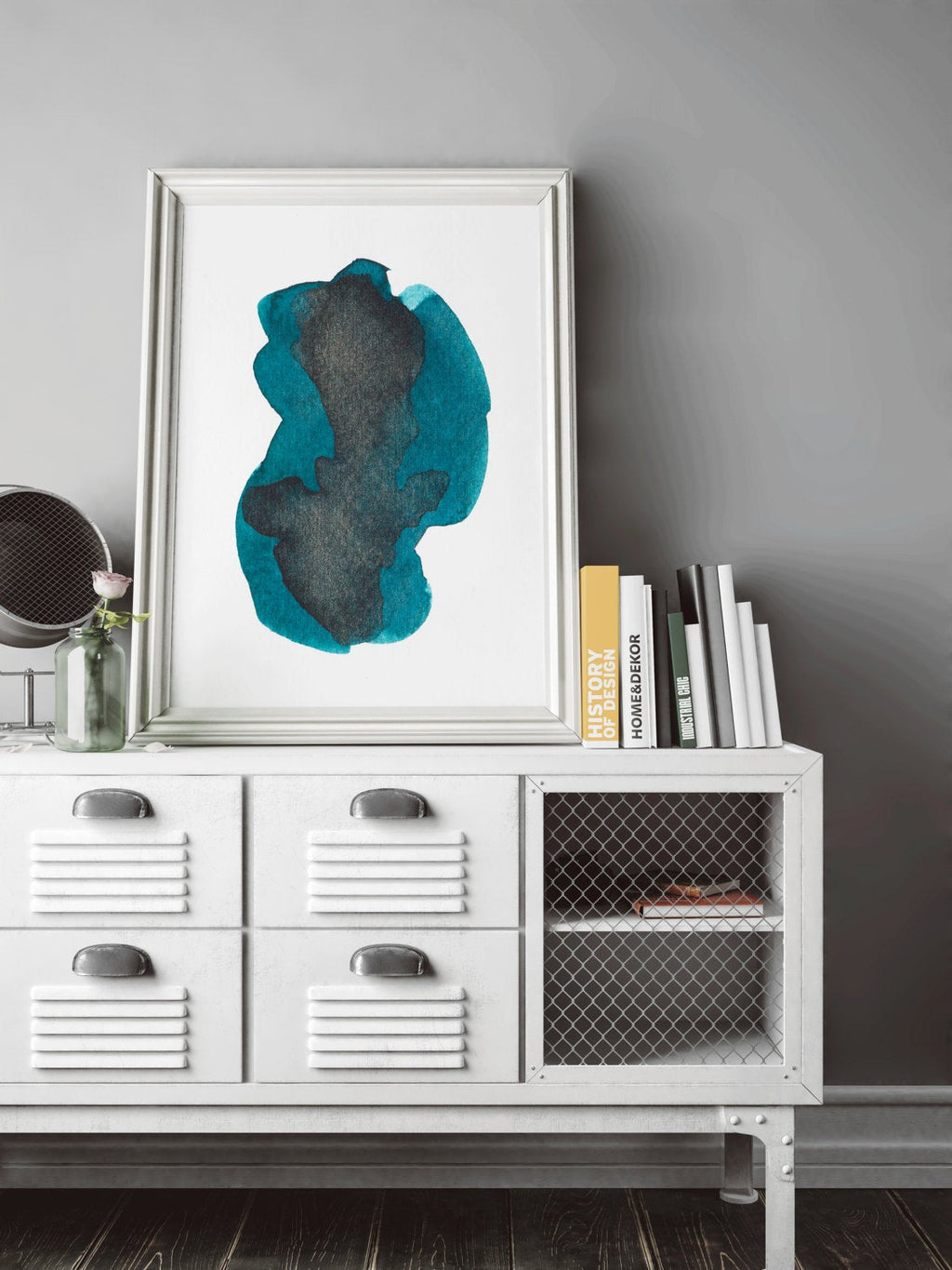 Blue and Black Abstract Art Print