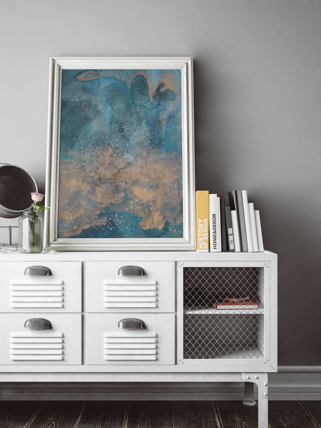 Blue Metallic Watercolor Copper Abstract Wall Art