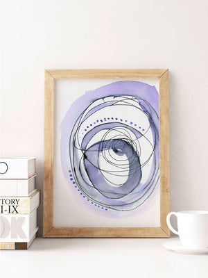 Purple and Black Abstract Watercolor Art