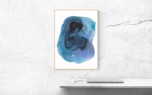 Large Blue Modern Abstract Painting. Minimal Abstract Home Decor