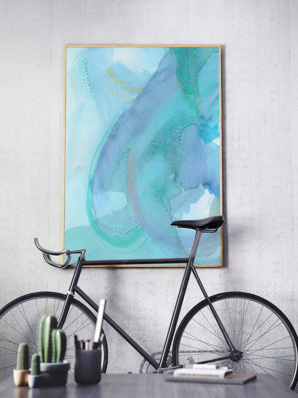 Etherial Abstract Watercolor Art. Blue and Green Colorful Home Decor.