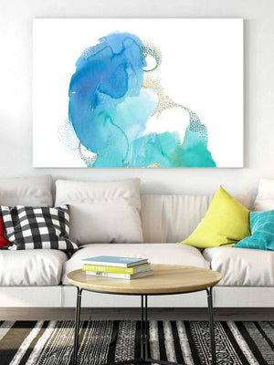 Extra Large Wall Art Watercolor. Large Abstract Blue and Green Painting.