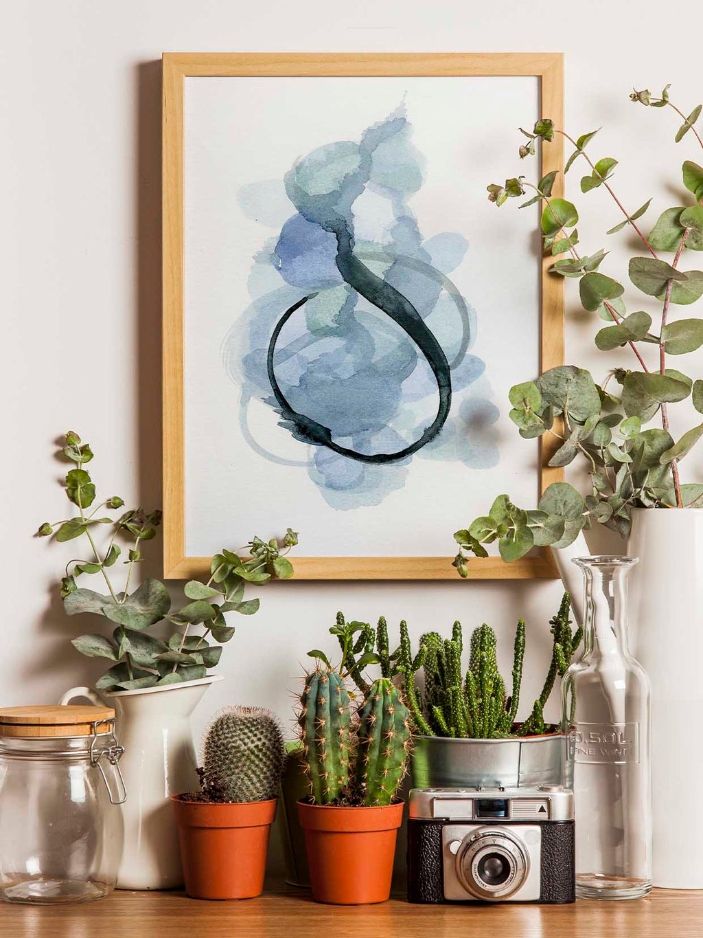 Abstract Watercolor Painting in Blue - AdriLunaStudio