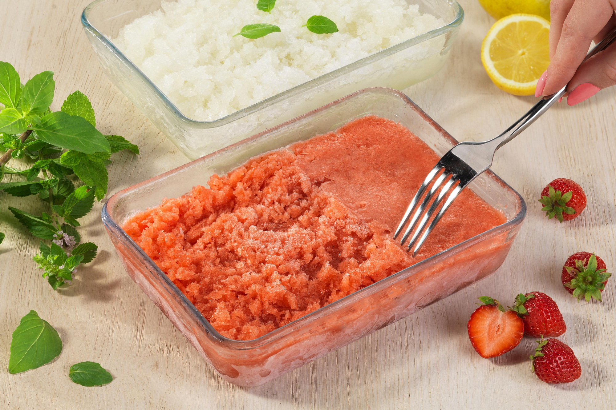 Strawberry Basil Granita