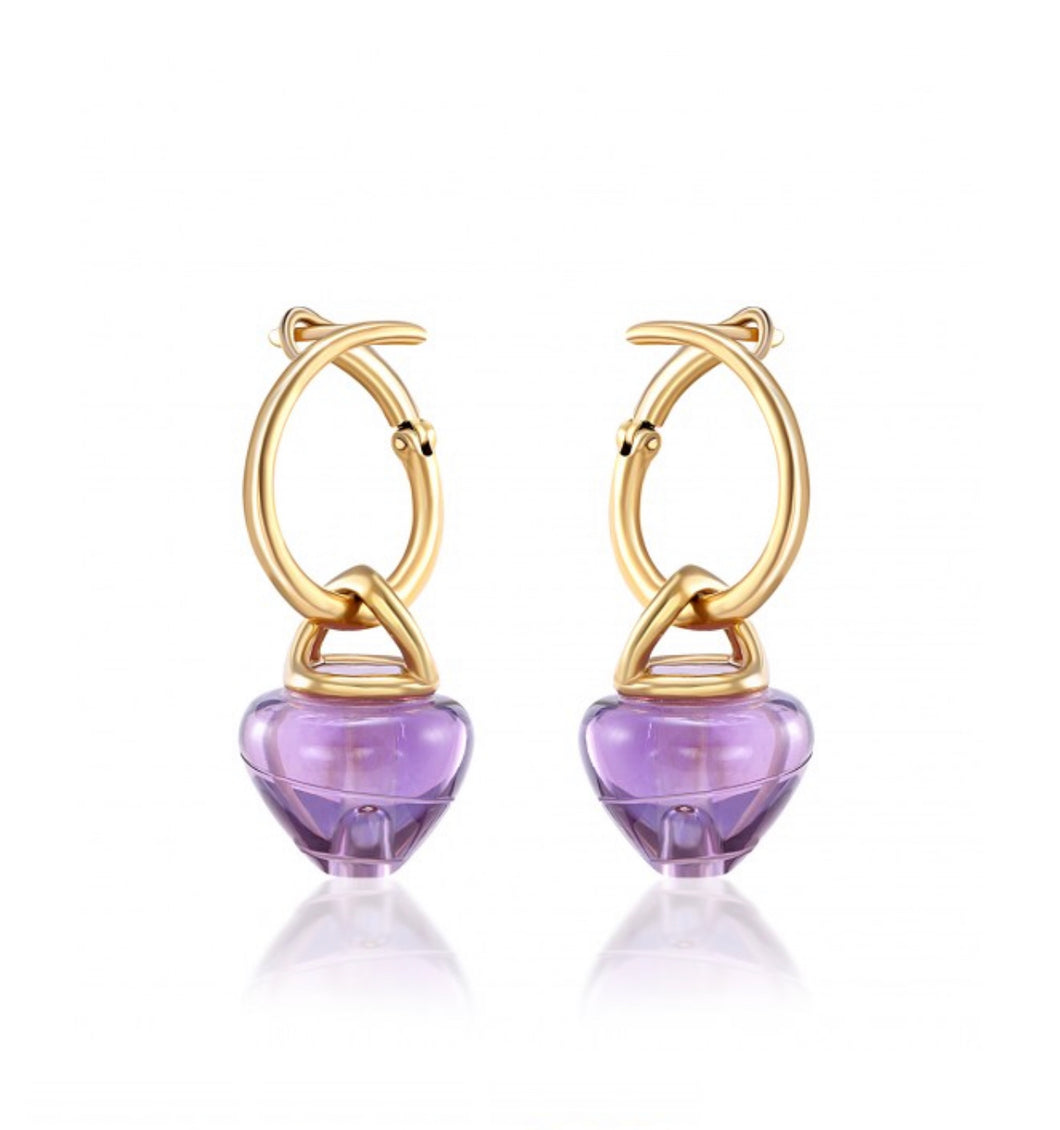 Amethyst AromaJewel Spiral Earrings
