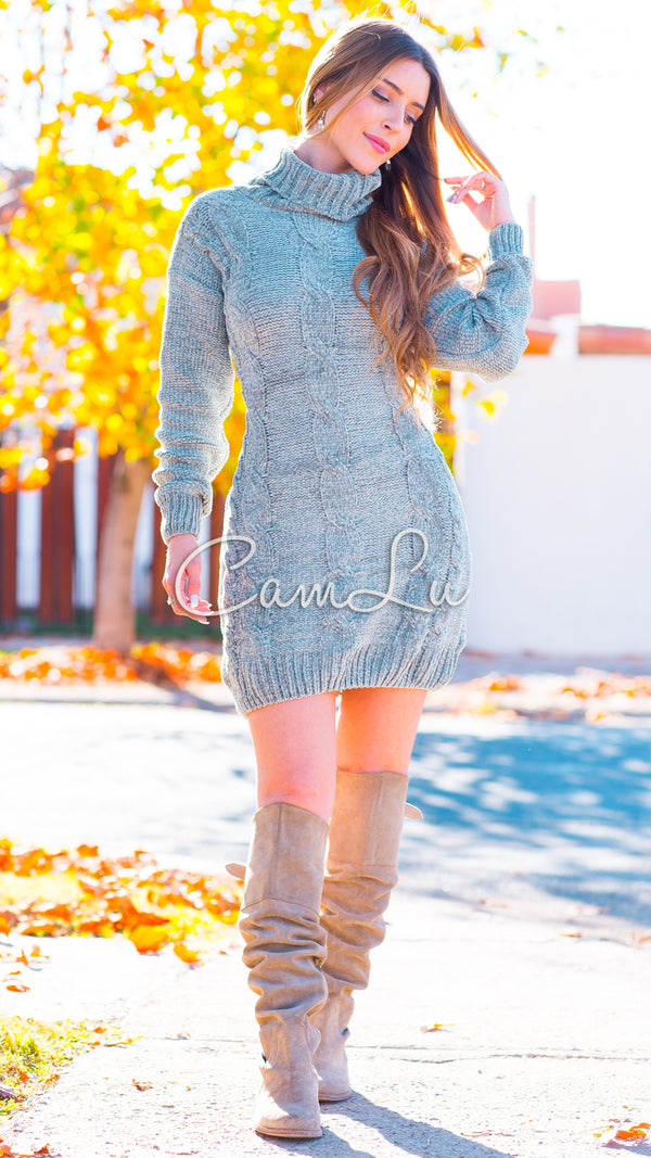 MAXI SWEATER/MINI VESTIDO TRENZADO FRONTAL