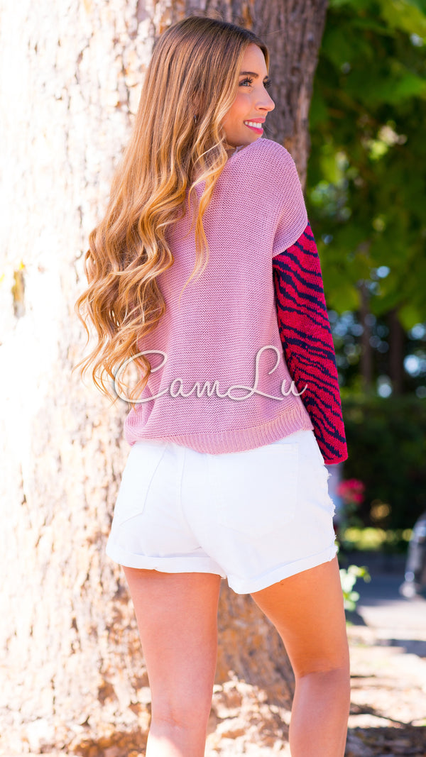 EXCLUSIVO SWEATER PRINT CEBRA CAMLU ROSADO