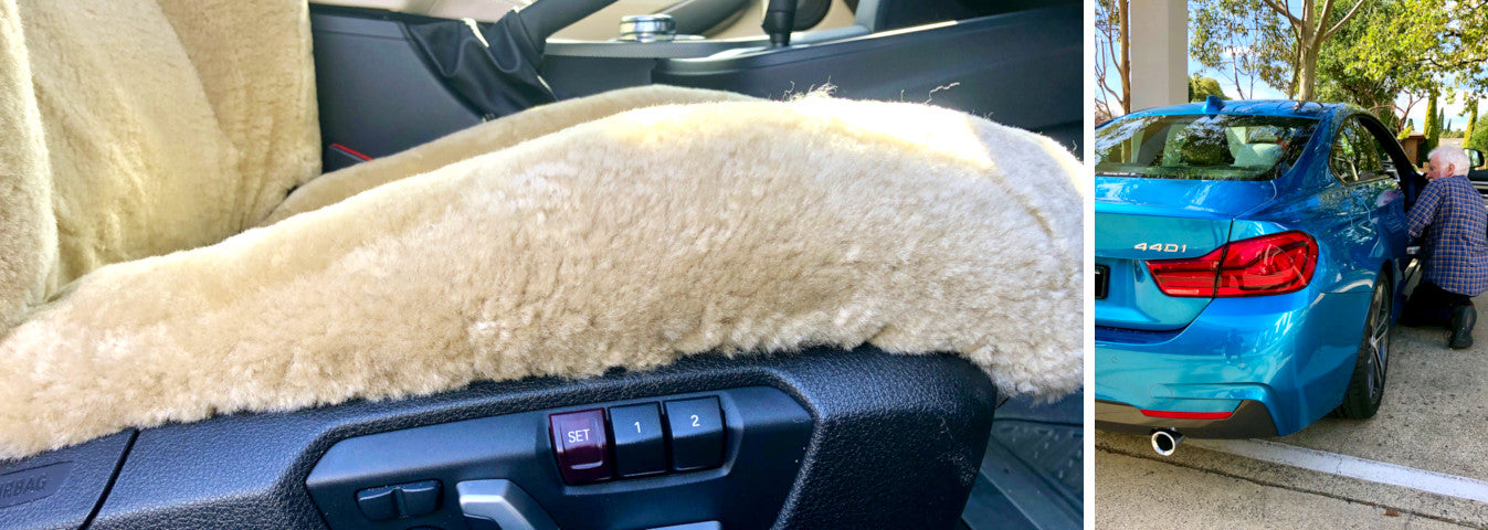 A photo showing our custom made sheepskin car seat covers on a BMW 4 Series