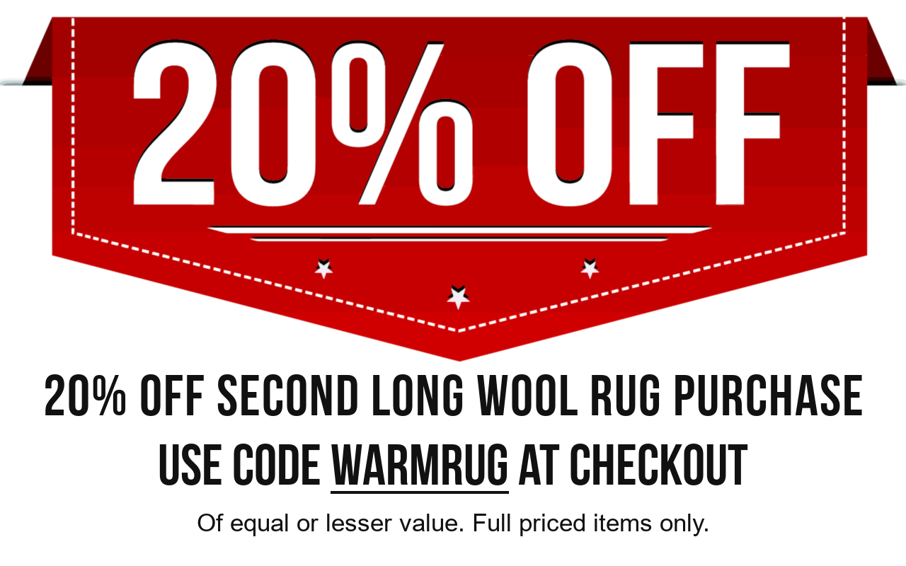 20% off second long wool rug purchase of equal or lesser value. Use code WARMRUG at checkout. Full priced items only.