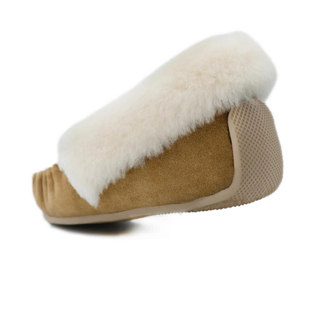 Close up of our sheepskin moccasins