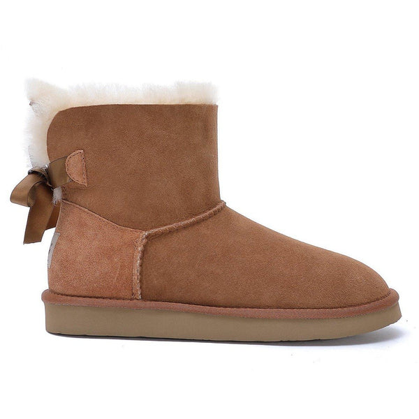 Brianna - Bow Tie Ugg Boot - Premium Australian Merino Sheepskin-Footwear-Y.E. & CO-CHESTNUT-5-Yellow Earth Australia