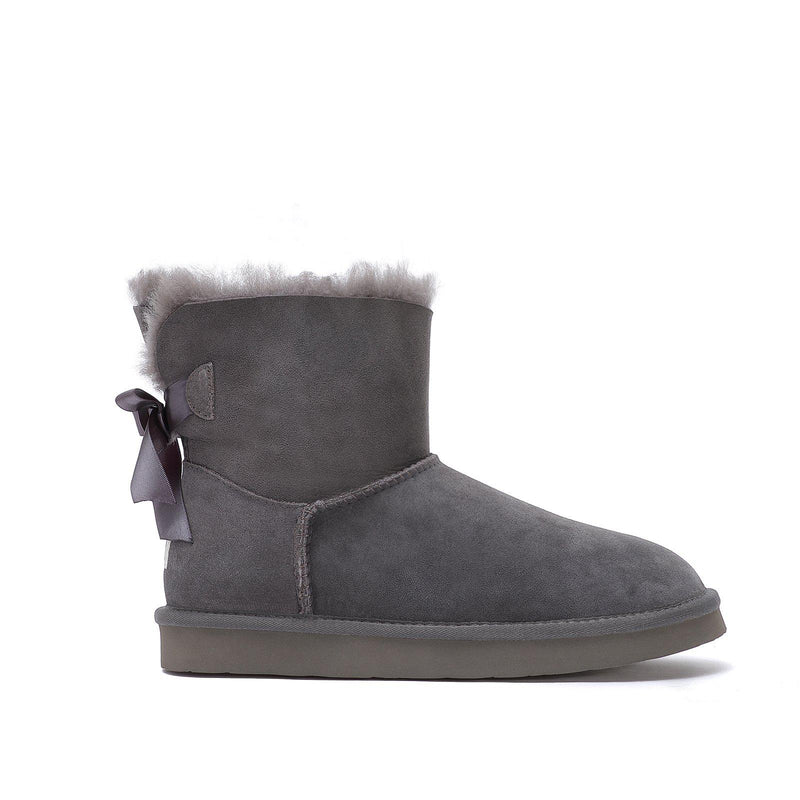 Brianna - Bow Tie Ugg Boot - Premium Australian Merino Sheepskin-Footwear-Y.E. & CO-GREY-5-Yellow Earth Australia