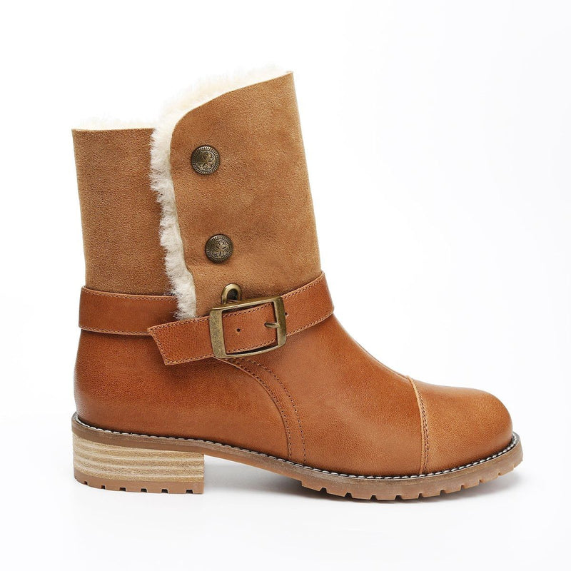 Yuri - Chestnut / 5 - Footwear Yellow Earth Australia Boots Button Leather Boots New Arrival Sheepskin