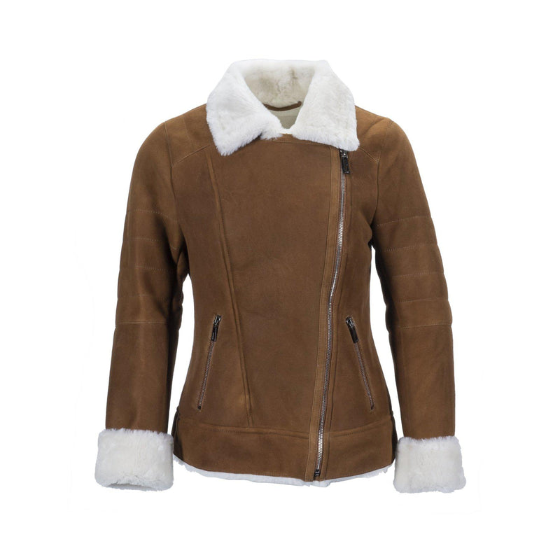 WOMENS TK BIKER JACKET - CHESTNUT / 36 - Apparel Yellow Earth Australia