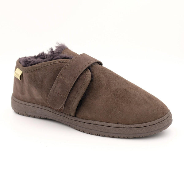 HUDSON (VELCRO STRAP) - BROWN / M9/W10 - Footwear Black Sheep Australia black sheep elderly healthcare medical non slip