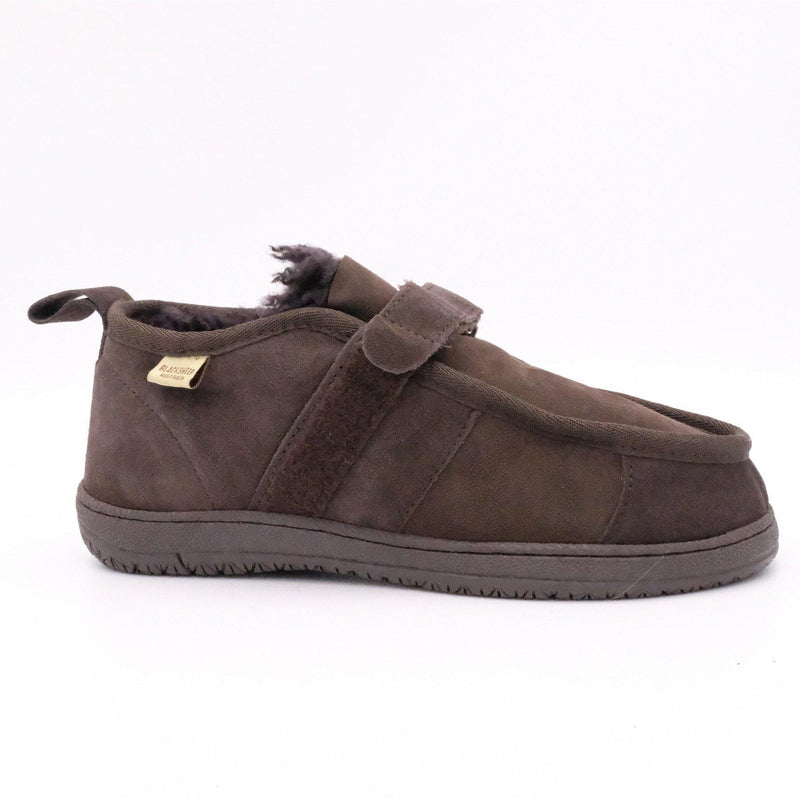 FLEECE EASY (VELCRO STRAP) - BROWN / W5 - Footwear Black Sheep Australia black sheep eldery healthcare medical non slip
