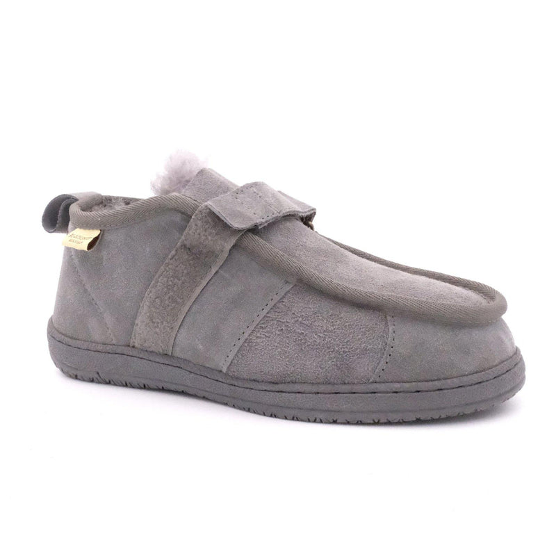 FLEECE EASY (VELCRO STRAP) - GREY / M12 - Footwear Black Sheep Australia black sheep eldery healthcare medical non slip
