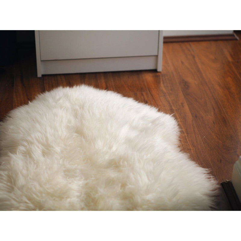 Ivory/White XXL Long Wool Rug - Australian Merino Sheepskin - 110cm x 65cm - Rug Yellow Earth Australia long wool,rug,sheepskin rug,white