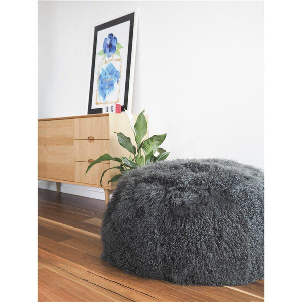 Mongolian Lambskin Bean bag - CHARCOAL - Accessories Yellow Earth Australia NEW ARRIVAL