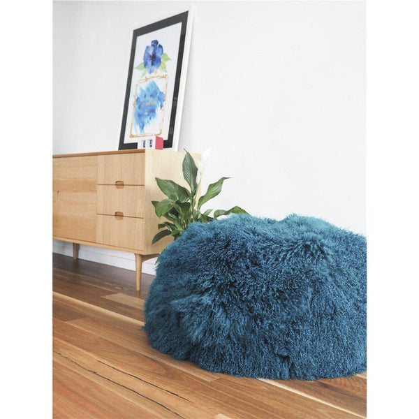 Mongolian Lambskin Bean bag - PEACOCK - Accessories Yellow Earth Australia NEW ARRIVAL