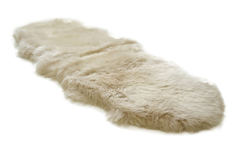Linen - Double Length 180cm - Long Wool Rug - Australian Merino Sheepskin Rug