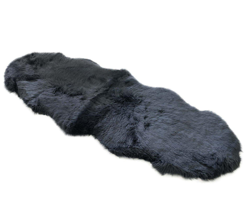 Steel - Double Sized 180x65cm - Dark Grey Long Wool Rug - Australian Merino Sheepskin-Rug-Yellow Earth Australia-Yellow Earth Australia